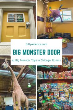 , Big Monster Door at Big Monster Toys in Chicago, Illinois - Silly America , The Big Monster Door at Big Monster Toys is a giant yellow door with a big green and purple monster peeping through. Inside, it's like Santa's worksho. Chicago Vacation, Chicago Travel, Big Yellow Door, Monster Door, Big Green Monster, Chicago Illinois, Chicago Lake, Fort Myers Beach, Chicago Photography