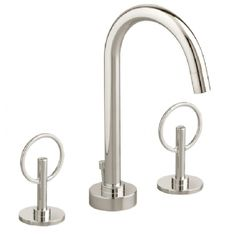 love the handles on this widespread lav fct  see it at www.jadousa.com .    Stoic Widespread Lavatory Faucet – Loop Handles shown in Platinum Nickel (150)