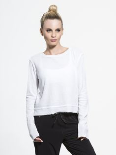 Meditation Hi Lo Long Sleeve in White