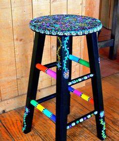 Funky Hand Painted Stool by dannimacstudios