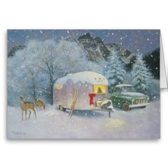 "Vintage Travel Trailer Art by Paige Bridges ""Silent Night"" Merry Christmas To All, Christmas Signs, Christmas Art, Vintage Christmas, Christmas Ideas, Christmas Pictures, Christmas Wishes, Vintage Rv, Vintage Airstream"