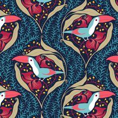 Toucan ogee pattern