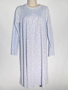 Charter Club Gown Blue New Berries Brushed Knits Long Sleeve Extra Small XS