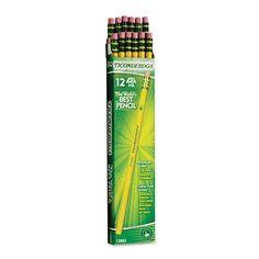 Dixon Ticonderoga Wood-Cased Pencils, #2 HB, Yellow,  Box of 12 (13882) Dixon Ticonderoga http://www.amazon.com/dp/B001AZ1D3C/ref=cm_sw_r_pi_dp_2QB.tb0C7333N