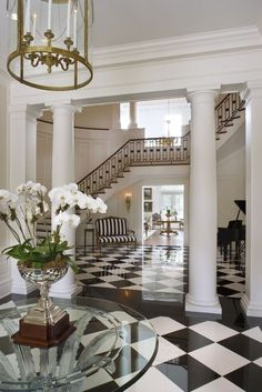 Design · home decor · pillars and foyer flooring fashion addict, foyer, photo and video, mansions, house Style At Home, Beautiful Interiors, Beautiful Homes, House Beautiful, Beautiful Images, Exterior Design, Interior And Exterior, Interior Columns, Mansion Interior