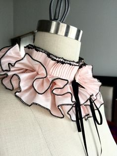 Items similar to Silk Detachable Ruffle Collar/Pale pink/Pleated Collar/High collar/Ruffled collar/Detachable collar/Neckline/Pleats/Fashion collar on Etsy Ruff Collar, Indian Gowns Dresses, Fashion Vocabulary, Detachable Collar, Neck Piece, High Collar, Black Silk, Pure Silk, Victorian Fashion