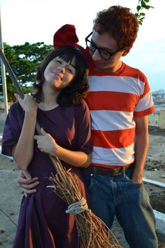 Kiki's Delivery Service cosplay by Bruna (Kiki) and Marcelo (Tombo) from Brazil