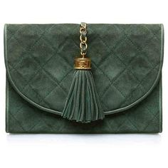 Pre-Owned Chanel Green Suede Tassel Clutch (7 565 PLN) ❤ liked on Polyvore featuring bags, handbags, clutches, green, green handbags, green clutches, green purse, suede fringe handbag and fringe handbags