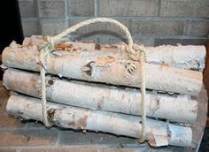 White Birch Log set for Fireplace by WilsonEvergreens on Etsy $39.95