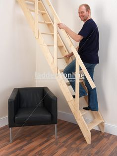 £124.95 Madrid Ladder Staircase The Madrid Space Saver Staircase is a cost-effective permanent straight flight option, as an alternative to a loft ladder. The pitch on this ladder is 57 degrees - steeper than a normal staircase to allow fitting in a restricted space.