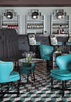 Gio Ponti's Patterned Tile – This London restaurant gives a take on classic tumbling block, in great colors.
