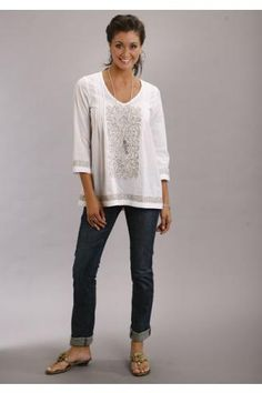 Solid+White+Voile+Tunic+Top+Stetson+Ladies+Collection-+Summer+I+Long+Sleeve+Urban+