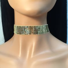 Sequins Shiny Choker 1 inch - Gold  Adjustable with lobster clasp and extender chain....   https://nemb.ly/p/Vy2cUXb6_