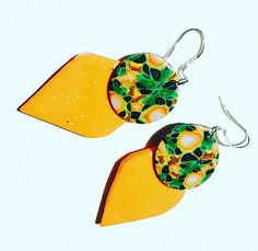 #funky earrings #unique polymer clay earrings #terracotta earrings #green millefiori earrings