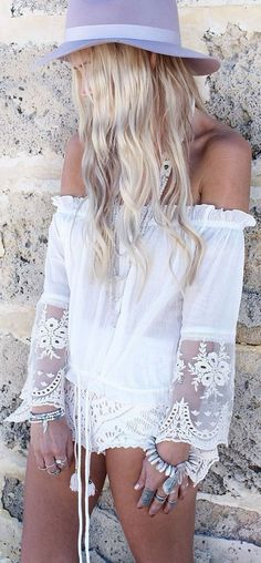 ♔ Spell And The Gypsy Collective White Hippie Lace Accent Off Shoulder Blouse