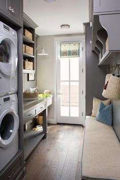 Gray galley style mudroom and laundry room combo boasting stacked washer and dryer in gray built in &; Gray galley style mudroom and laundry room combo boasting stacked washer and dryer in gray built in &; S Trumbull […] Room stacked washer and dryer Grey Laundry Rooms, Mudroom Laundry Room, Laundry Room Remodel, Laundry Room Cabinets, Farmhouse Laundry Room, Built In Cabinets, Laundry Room Design, Bench Mudroom, Farmhouse Bench