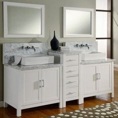 Direct Vanity Sink Horizon Collection 84-in. Double Bathroom Vanity Set - White - modern - bathroom vanities and sink consoles - Hayneedle