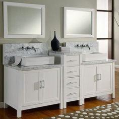 Direct Vanity Sink Horizon Collection 84-in. Double Bathroom Vanity Set - White - modern - bathroom vanities and sink consoles - Hayneedle