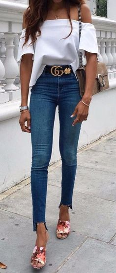 off-the-shoulder top   jeans | street style idea