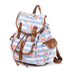 Floral Striped Backpack from claires! I AM IN LUV WITH THIS! I also bought it, but it hasn't came yet. Can't wait for its arrival! Striped Backpack, Floral Backpack, Striped Bags, Backpack Bags, Fashion Backpack, Rucksack Backpack, Cute Backpacks For School, Girl Backpacks, Justice Backpacks