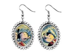 popeye the sailor man olive Earrings silver plated oval pendant charm