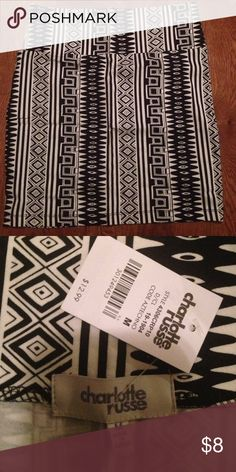 Charlotte Russe Bodycon skirt. Charlotte Russe black and white Aztec Bodycon skirt. Size M. Never been worn Charlotte Russe Skirts Mini