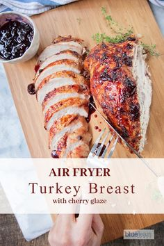 Air frying a turkey breast is a quick and easy way to cook turkey with juicy and tender results. Perfect if you need extra turkey for large gatherings. Turkey Tenderloin, Gourmet Recipes, Healthy Recipes, Air Fryer Oven Recipes, Juicy Steak, Air Frying, Glaze Recipe, Cooking Turkey, Turkey Breast