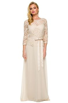 Mother of Bride Gown NX5116 Mother of Bride Long Evening Gown has Bateau Neckline and 3/4 Length Sleeves, Floral Lace Bodice featuring Satin Waistband and Scoop Open Back with Zipper Closure, Solid Color Long Skirt. https://www.smcfashion.com/wholesale-mother-of-bride-dresses/mother-of-bride-gown-nx5116