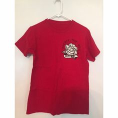 Pierce the Veil Hell Above Tee Small red Pierce the Veil T-shirt. Lyrics to Hell Above are printed on the back. Barely worn, great condition Hot Topic Tops Tees - Short Sleeve