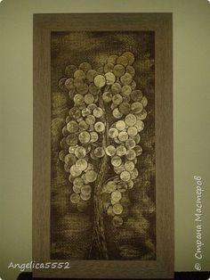Картина панно рисунок Аппликация Денежное дерево Клей Краска Мешковина Монета Салфетки