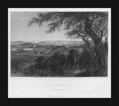 Baltimore, Maryland Fine City View, antique engraving by Perkins, original 1873 #antique