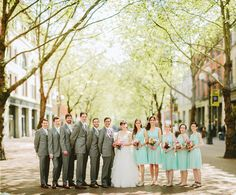 Mint, pink and blue bridal bouquets from Melanie Benson Floral Design