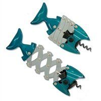 """Left Handed Fish Corkscrew by Hahn Homewares. $34.95. Because the expandable tong extends three times father than the screw moves, it is three times easier to pull the cork out. With its expandable """"lazy tong"""" mechanism, extracting a cork requires less effort than with a traditional corkscrew. This corkscrew is the perfect gift for a lefty who enjoys wine--so attractive, most people will leave it out as a bar ornament!. Comes in a festive deep turquoise color, which l..."""