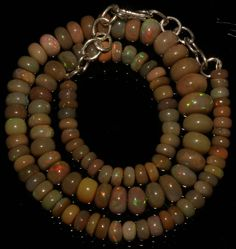 """82 CRT 5-10 MM 14""""NATURAL ETHIOPIAN  WELO FIRE OPAL  RONDELLE BEADS NACKLACE 835"""