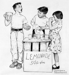 """Lemonade Stand, ""Norman Rockwell, 1955. Pencil on paper. Norman Rockwell Museum Collections, gift of Massachusetts Mutual Life Insurance Company. ©NRELC: Niles, IL."