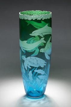 """wasbella102: """" Dolphins and Turtles art glass by Cynthia Myers """""""