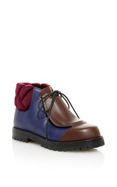 Blue Calf Leather Hiking Boot by MARCO DE VINCENZO for Preorder on Moda Operandi