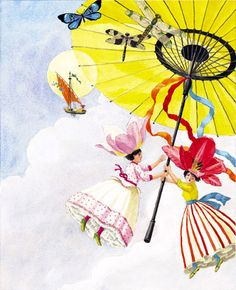 Flower and Shell People: Parasol In The Air (Chinoiseries)