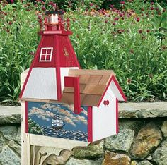 nautical mailbox | Solar Lighthouse Mailbox with Hand-Painted Scene