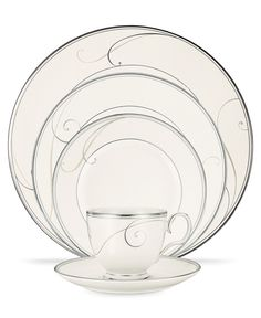 Platinum Wave features a delicate scroll motif interpreted as waves washing against the silver rim, all on a fine white porcelain body. Set for 4 - Tea Cup, Tea Saucer, Entree, Dinner and Soup Plate. Clear Coffee Mugs, China Sets, Elegant Dining, Noritake, Dinner Sets, China Dinnerware, Fine China, Place Settings, White Porcelain