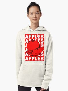 """""""Red Apple Fruit Food on Red Background Design Drawing Illustration"""" Pullover Hoodie by Maricrism 
