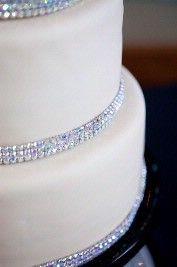 Cake Strips Of Rhinestone Trim Wedding Reception