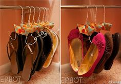 ARTE COM QUIANE - Paps, Moldes, E.V.A, Feltro e Costuras: Organizando os sapatos em cabides passo a passo