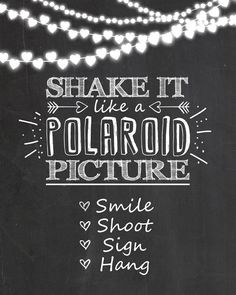 Polaroid sign Photo booth wedding sign Shake by Anietillustration