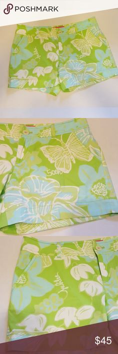 Lilly Pulitzer Jubilee Shorts Green Blue Floral 8 Lilly Pulitzer Jubilee Shorts Green Blue Floral 8, good condition, two small marks...tag is loose---see last picture  Inseam 4 1/2 Waist 17 inches  Length measures 12 1/2  Bundle two and save twenty percent--check out my lilly sandals for sale! All reasonable offers considered Lilly Pulitzer Shorts