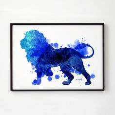 Lion watercolor. Wildlife poster. Animal print.  Printed on high quality art paper.  SIZES:  8.3 x 11.7 (A4) 11.7 x 16.5 (A3)  This print comes