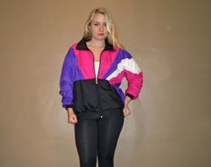 1990s Hot Neon Pink Purple Windbreaker Jacket 90s by TheRogueGypsy