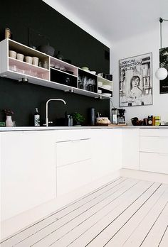 <3 <3 <3 @Nick Bray if we buy a house with a boring 'investment property', kitchen can we make the wall black and add some pastels to the shelves??
