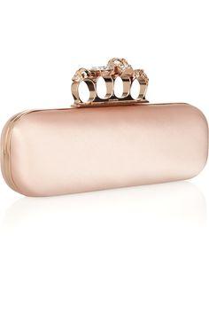 mcqueen | pale-pink satin knuckle box clutch. i die. <3