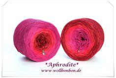Wollbonbon *Aphrodite* 50% Baumwolle/50% Acryl  Farbverlauf: Farbverlauf : himbeere-fuchsia-hummer-malaga